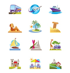 Travel holidays and vacation icons set vector