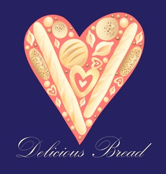 Heart bread vector