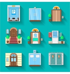 Flat icons collection for entrance doors vector