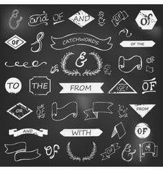 Hand-lettered ampersands and catchwords vector