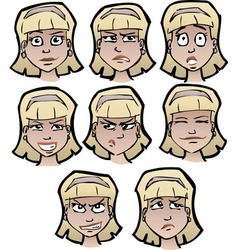 Cartoon emotional faces female vector