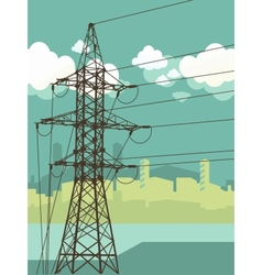High-voltage tower silhouette on the urban vector