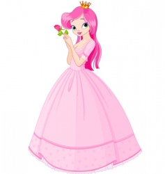 Princess with rose vector