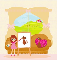 Little artist girl painting cat on large paper vector