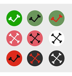 Bone check marks icons vector