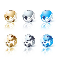 Set of silver gold and blue isolated globe vector