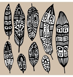 Ethnic feather set vector