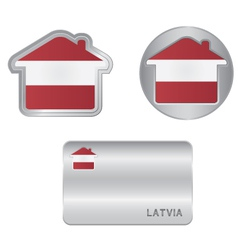 Home icon on the latvia flag vector