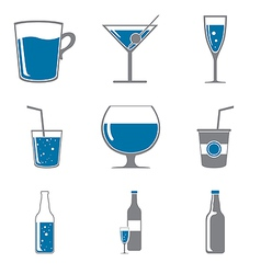 Set of icons of drinks gray blue vector