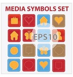 Web and media buttons collection with media vector
