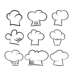 Set chef and cook hats set isolated on white vector