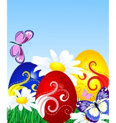 Easter eggs on the lawn vector