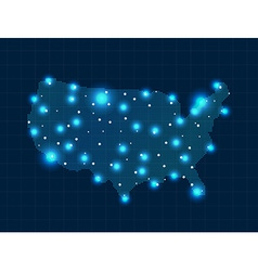 Pixel usa map with spot lights vector