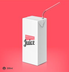 Juice package with drinking straw template vector