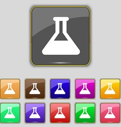 Conical flask icon sign set with eleven colored vector