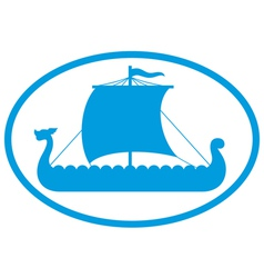 Viking ship icon vector