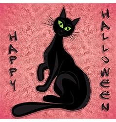 Black cat halloween holiday vector