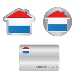 Home icon on the luxembourg flag vector
