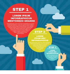 Human hands with infographic round blocks vector