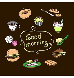 Set food morning vector