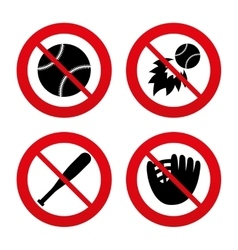 Baseball icons ball with glove and bat symbols vector