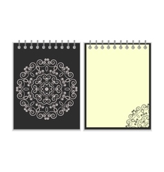 Black cover notebook with round floral pattern vector