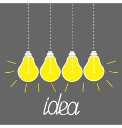 Hanging yellow light bulbs idea concept grey vector