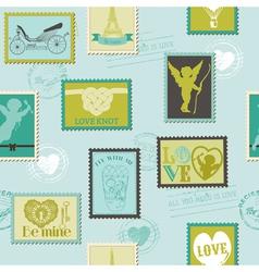 Valentine stamps love background vector