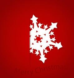 Christmas postcard with origami snowflake vector