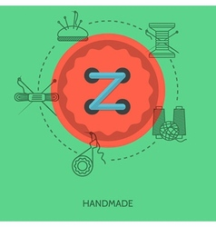 Flat for handmade red button vector