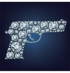 Gun made up a lot of diamonds vector