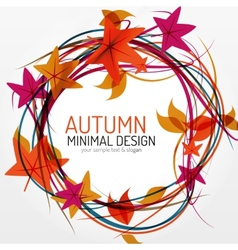 Autumn leaves and lines abstract background vector