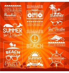 Retro hand drawn elements for summer calligraphic vector