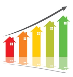 Color graph show home price increase stcok vector