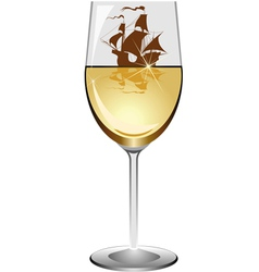 Sailboat in a wineglass vector