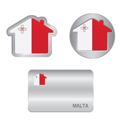 Home icon on the malta flag vector