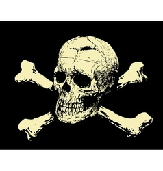 Evil skull with bones warning sign vector