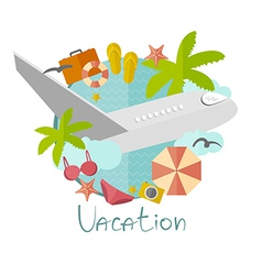 On vacation in a flat minimalist style vector