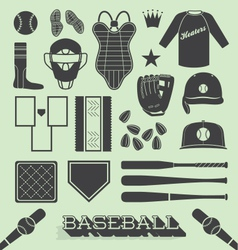 Baseball objects and icons vector