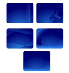 Collection of blue business cards with waves vector