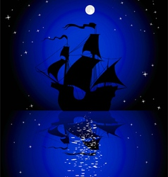 Sailboat in the moonlight vector