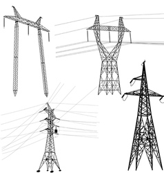 Set silhouette of high voltage power lines vector