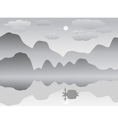 Mist mountain reflection lake landscape chinese vector