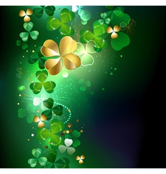Glowing golden shamrock vector