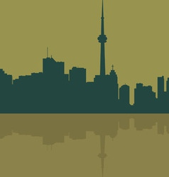 Contour of the big city on a dark yellow vector