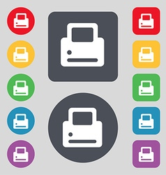Printing icon sign a set of 12 colored buttons vector