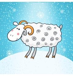 Beautiful cute sheep symbol of the new year vector