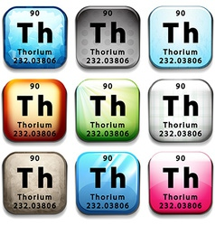 A button showing the chemical element thorium vector