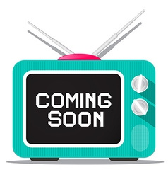 Coming soon sign on retro tv screen vector