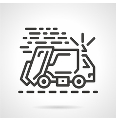 Garbage truck black line icon vector